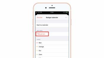 Tilføj person til delt kalender i Kalender-app