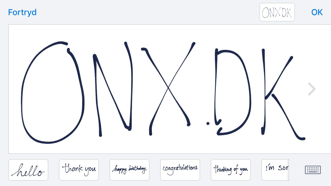 Håndskreven besked