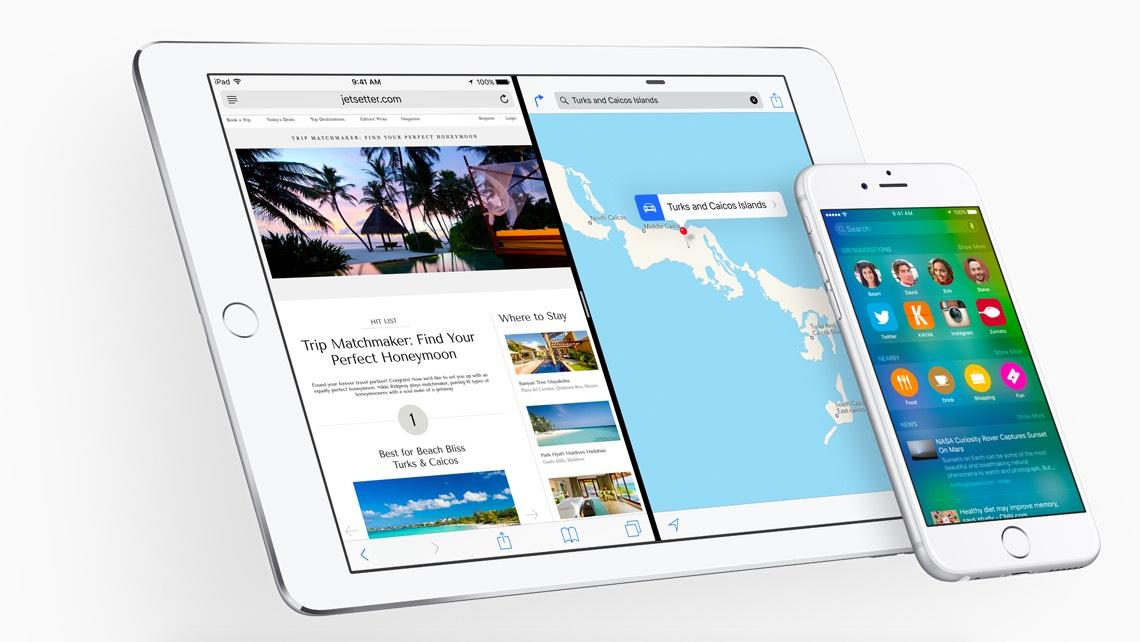 iPad og iPhone med iOS 9