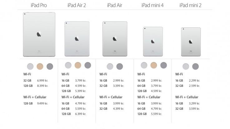 ipad-oversigt-priser-farver