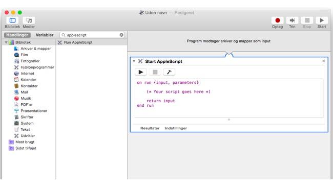 Automator med AppleScript